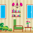 Stock Vector: Living room