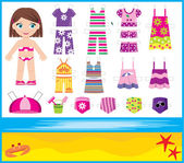 Paper doll with summer set of clothes — Stock Vector