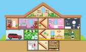 Hus i ett snitt — Stockvektor