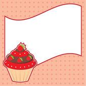 Cupcake avec nuage de message. cadre pour photo, formulaire — Vecteur