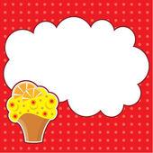 Cupcake con nuvola di messaggio. cornice per una foto, forma — Vettoriale Stock