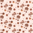 Seamless chocolate cakes pattern — Stock Vector