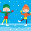 Two girls on a skating rink — Stock Vector