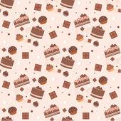 Seamless chocolate cakes pattern — Stock Vector