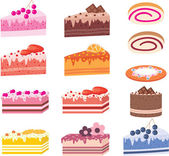 Cakes, pieces of pies, sweets — Stock Vector