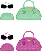 Female bags, beauticians and sun glasses — Stock Vector