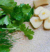 Garlic and greenery — Foto de Stock