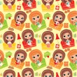 Seamless girls cartoon pattern. — Stock Vector