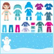 Royalty-Free Stock Vector Image: Paper doll with a set of winter clothes.