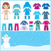 Paper doll with a set of winter clothes. — Stock Vector