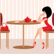 Young woman in cafe — Stock Vector
