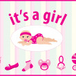 Baby girl arrival announcement card - Grafika wektorowa