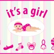 Baby girl arrival announcement card - Image vectorielle