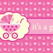 Baby girl arrival announcement card. - Image vectorielle