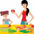 Mum learns the daughter to prepare. — Vector de stock