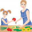 Daughter helps mum to prepare. — Stock vektor
