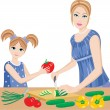 Daughter helps mum to prepare. — Stock Vector