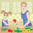 Daughter helps mum to prepare. — Stockvektor  #8630398