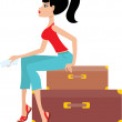 Woman sits on a suitcase and holds the ticket — Stock Vector #8630400