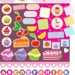 Stock Vector: Scrapbook elements with cupcakes