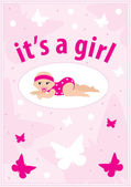 Baby girl arrival announcement card — Cтоковый вектор