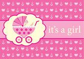 Baby girl arrival announcement card. — Stock Vector