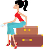 Woman sits on a suitcase and holds the ticket — Stock Vector