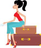 Vrouw zit op een koffer en houdt het ticket — Stockvector