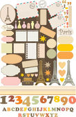 Scrapbook elements with Tour — Stock Vector