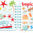 Stok Vektör: Scrapbook elements with tropics