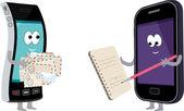 Dwa smartfony z notebooka i koperty. — Wektor stockowy