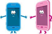 Dos teléfonos - rosados y azules — Vector de stock