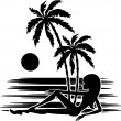 Tropics. A palm trees and woman silhouette on a white background — Imagen vectorial