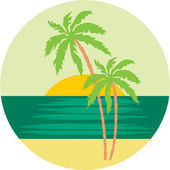 Tropical beach with palm trees. — Stock Vector