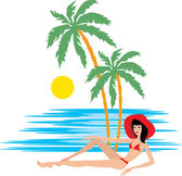 Tropical beach with palm trees and woman — Stock Vector