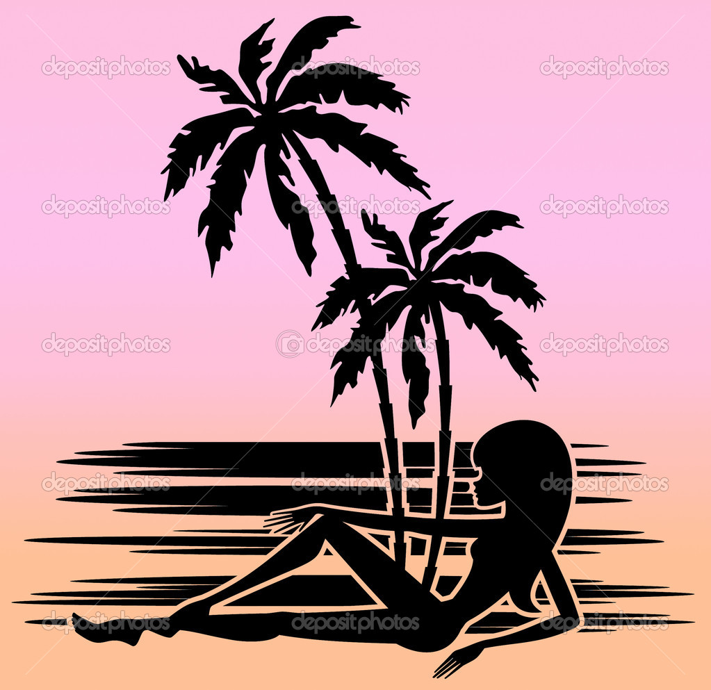 Tropical beach with palm trees and woman. Silhouette ...
