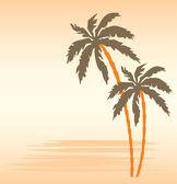 热带海滩和棕榈树 — 图库矢量图片