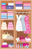 Wardrobe room. Furniture — Stockvector