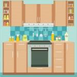 Kitchen furniture. Interior. — Stock Vector