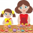 Stock Vector: Mother with daughter bake cupcakes