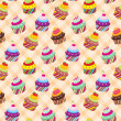 Stock Vector: Seamless cupcake pattern