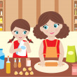 Stock Vector: Mother with the daughter cook dough