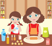 Mother with the daughter cook dough — Stock Vector