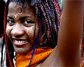 Madagascan girl with colourful braids — Stock Photo