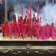 Burning incense upon incense altar in temple — Stok Fotoğraf #7992985