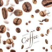 Flying coffee beans — Stock Photo