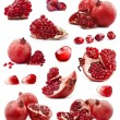 Collection of red pomegranate fruits - Stock Photo