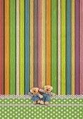 Vintage background with handmade teddy bear — Stock Photo