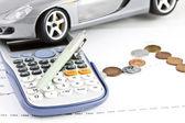 Car, Calculator, Money and Pen — Stock Photo