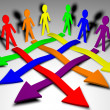 Characters and arrows - business team, teamwork, working relations — Foto de Stock